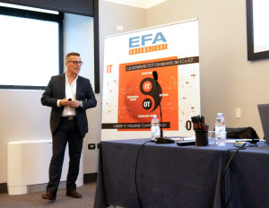 Franco Andrighetti, co-managing director di EFA, in un momento della presentazione di Ignition 8